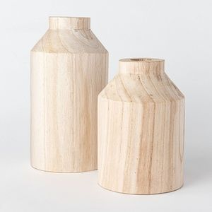 Threshold Accents - Studio McGee decorative wooden vase natural large